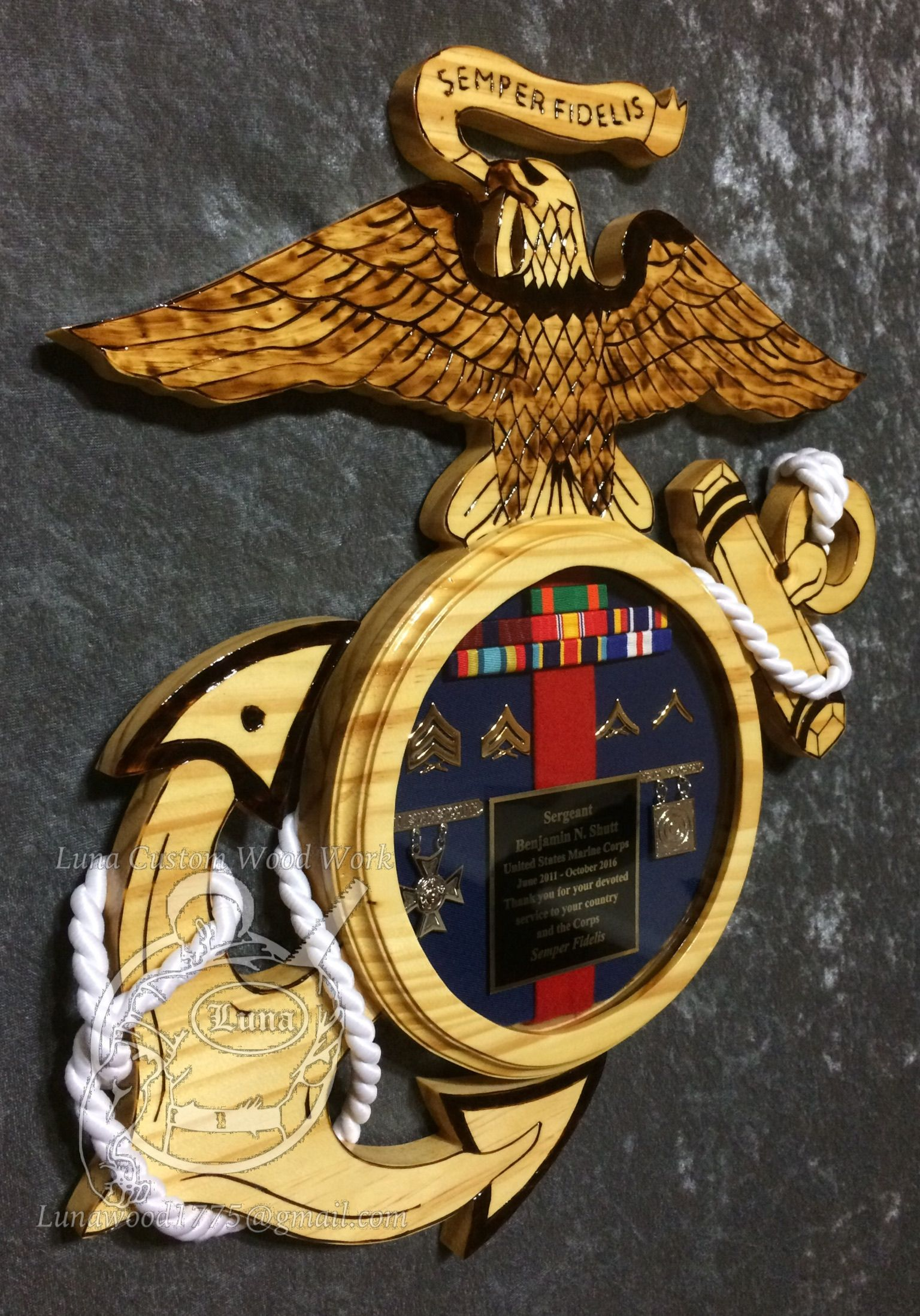 37f524e5 USMC plaque Questions on design or price contact Lunawood1775@gmail.com  Navy Marine,