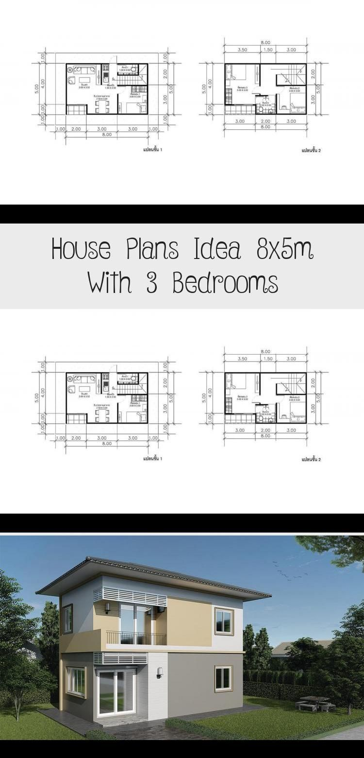 Plans Idea 8x5m With 3 Bedrooms In 2020 Pool House Plans House Plans Small House Plans