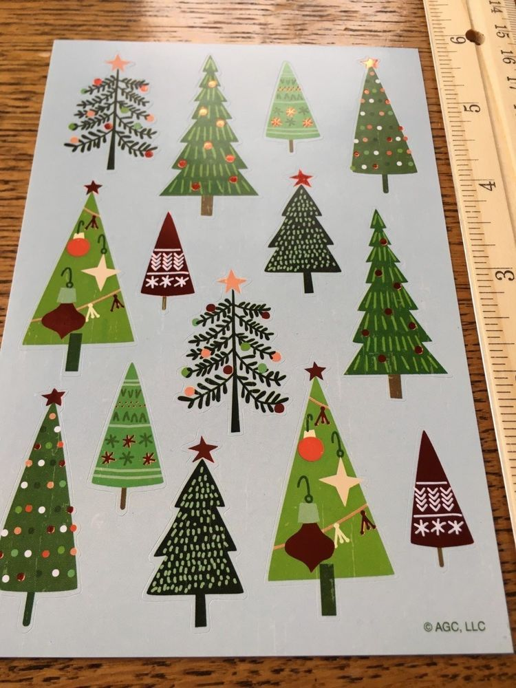 Christmas Stickers Foil Christmas Trees Sparkly Festive Beautiful Pines Christmas Stickers Christmas Tree Christmas