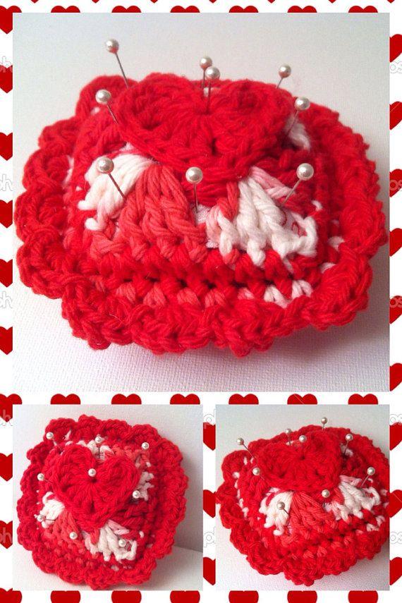 Red & white heart crocheted pincushion by RainbowLuvCreations, $5.99