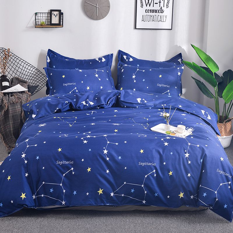 Constellation Bedding Set Stars Blue Duvet Cover Twin Queen Size