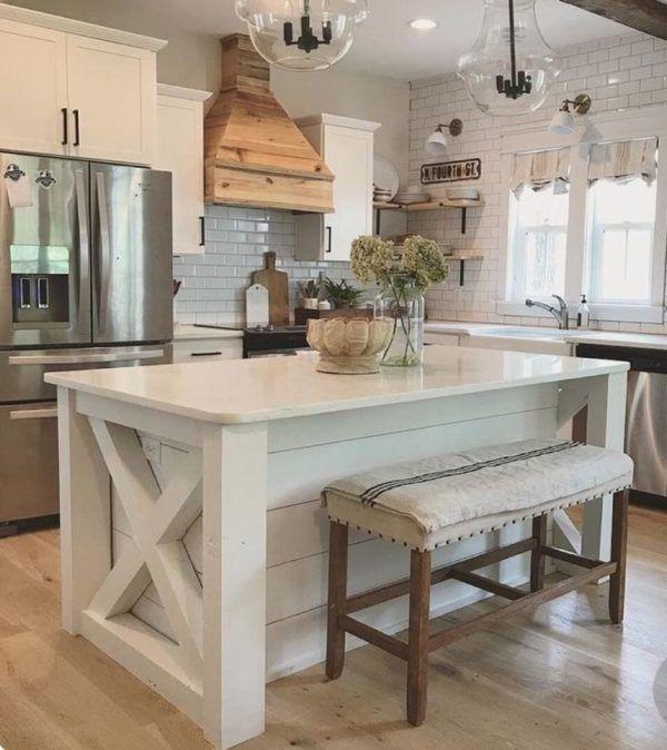 Love The Green Subway Tile And Farmhouse Island Small Farmhouse Kitchen Kitchen Island With Seating Farmhouse Kitchen Backsplash