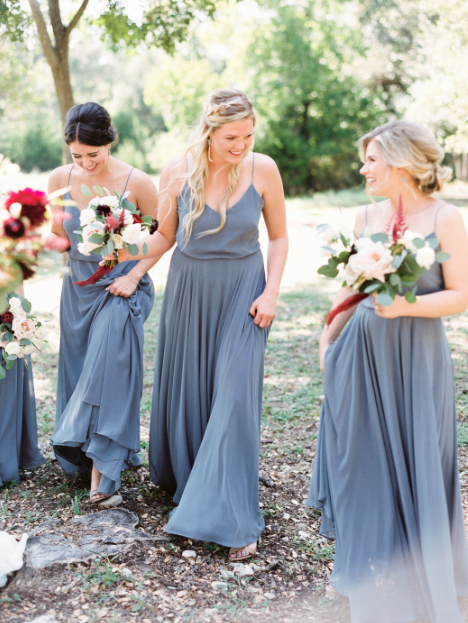 Jenny Yoo Bridesmaids Long Luxe Chiffon Inesse Dresses In Denmark Blue Perfect Bridal Party A Shade Of For Fall Wedding Photo By