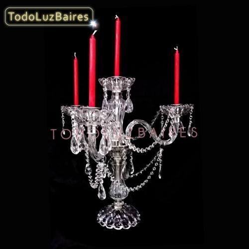 candelabro de vidrio 4 luces con rizos altura 83cm eventos.