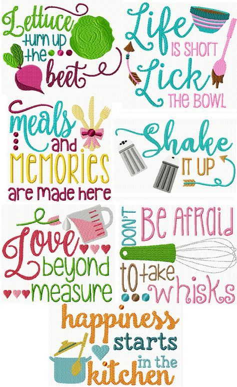 Exclusive Kitchen Sayings | Embroidery ideas | Embroidery ...