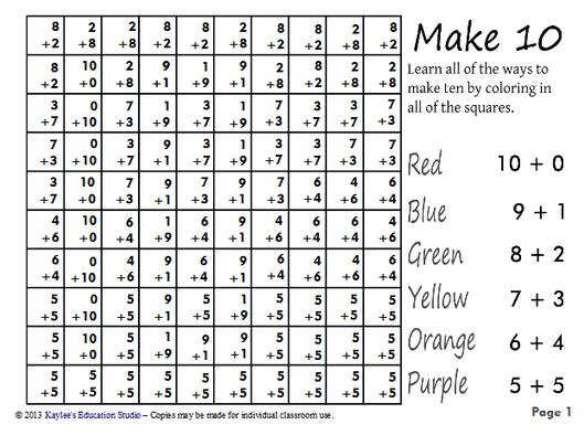 Make 10 Hidden Pictures Worksheets 1st Grade Math Teaching Math Education Math