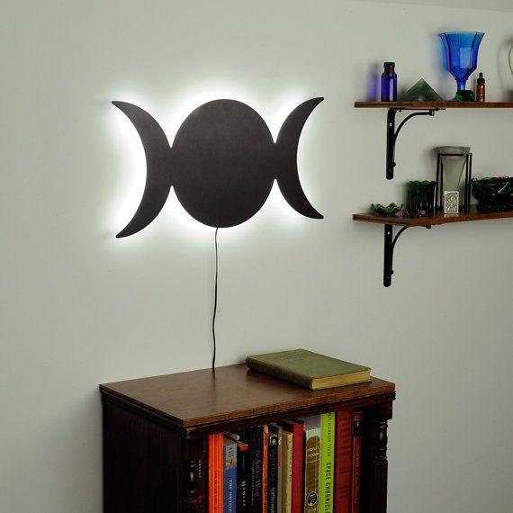 Lighted Triple Goddess Moon Wall Art Spiritual by HaloLights