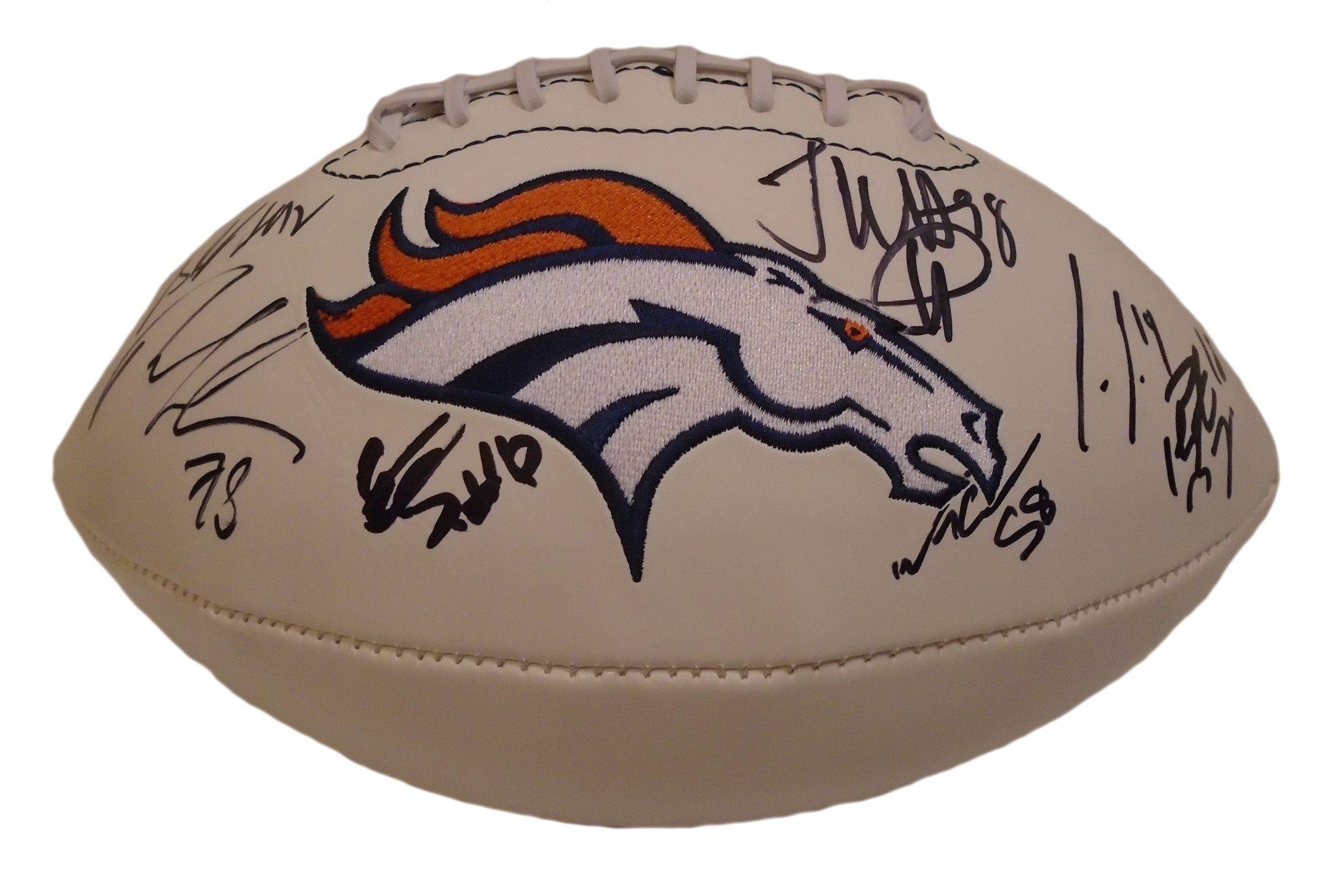 1d867f1391f 2014-2015 Denver Broncos Team Autographed White Panel Logo Football ...