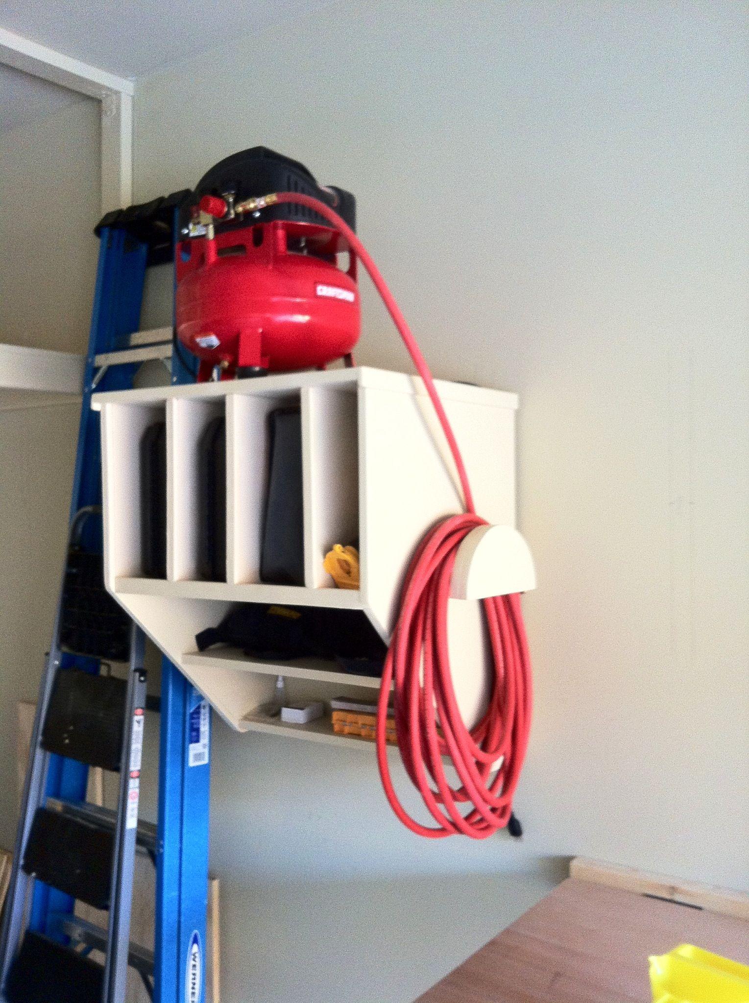Air compressor shelf. Via Reader's Digest. Garage