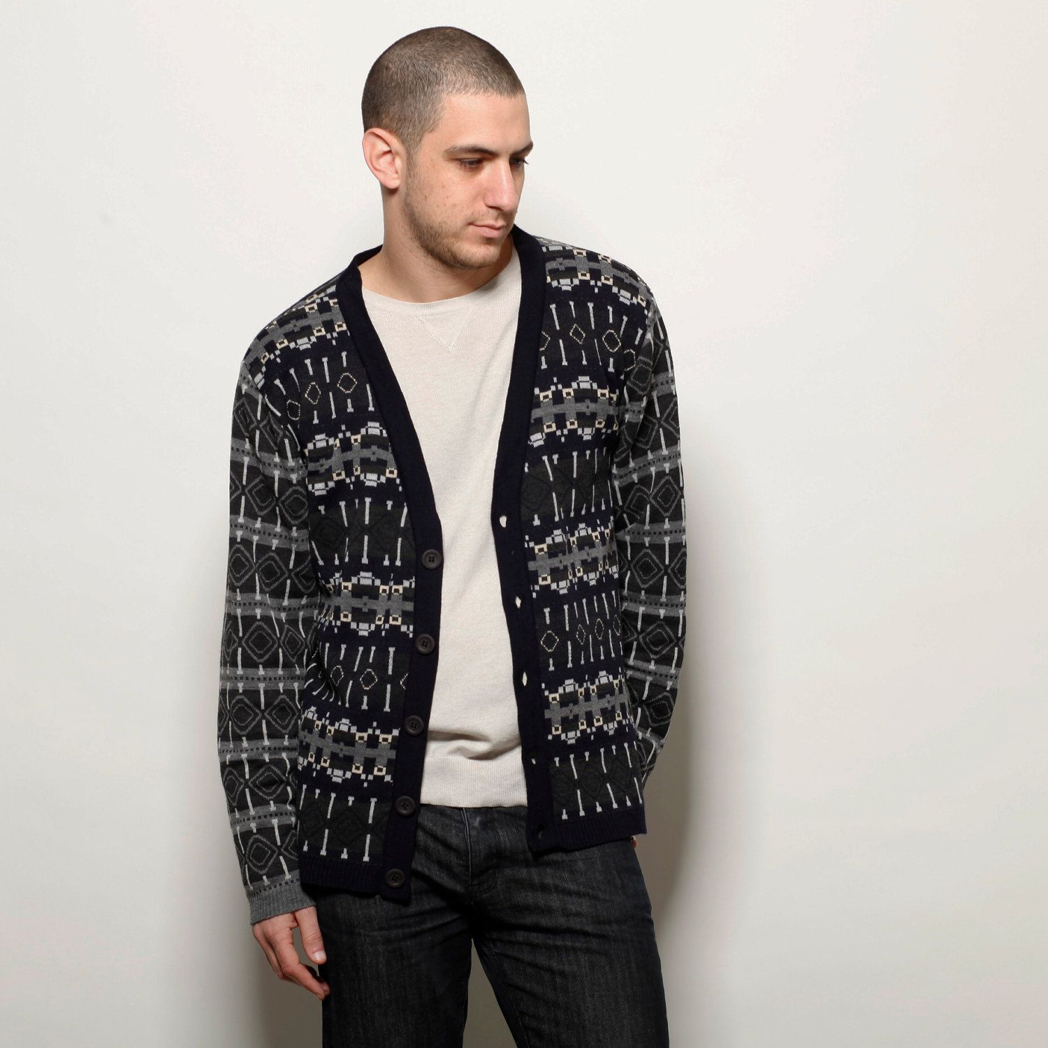 Jacquard men cardigan, blue jumper, mens sweater, boxingday sale ...