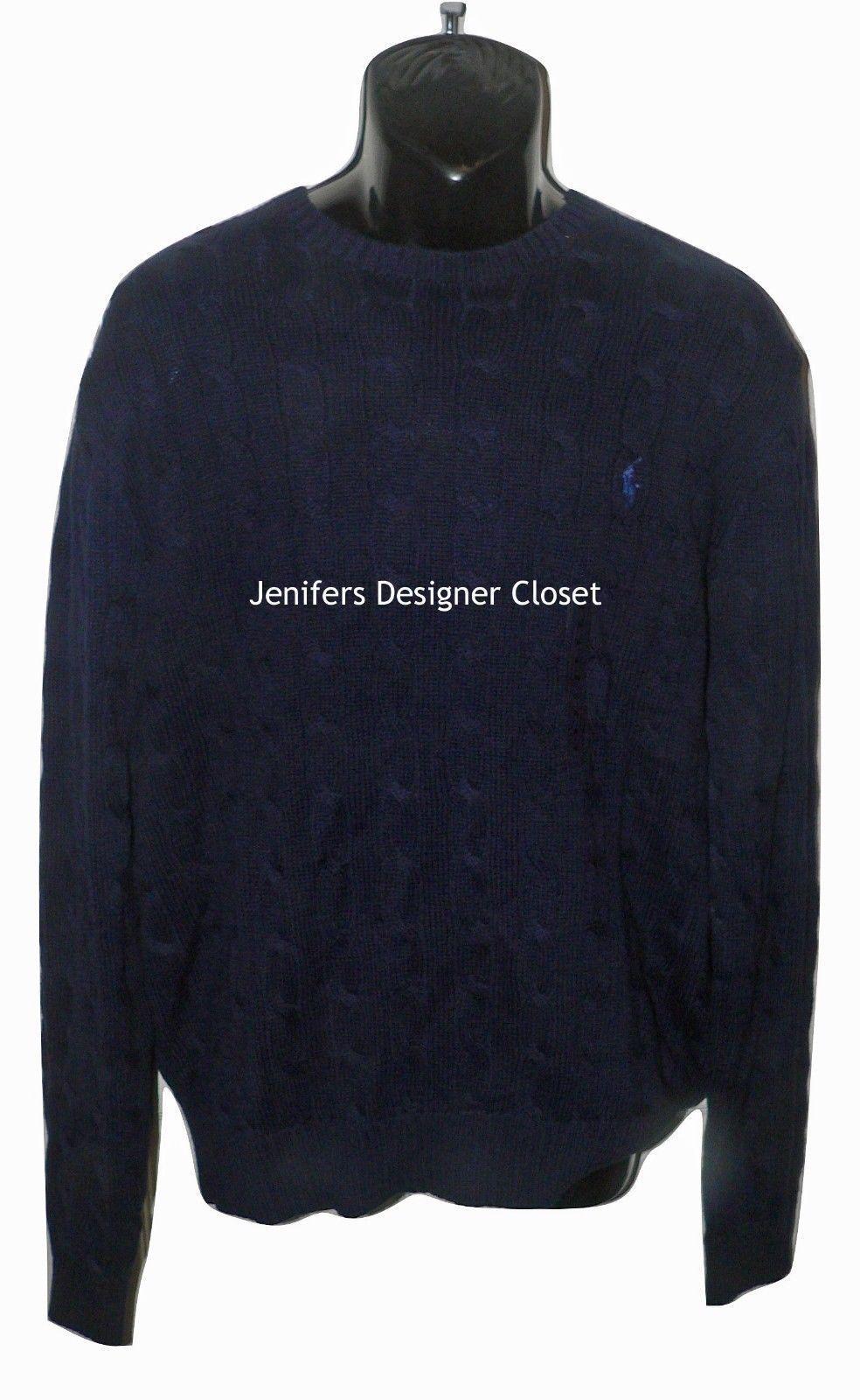 3ddfe3abc8b899 NWT POLO RALPH LAUREN XL cable knit crew neck sweater navy blue cotton men's