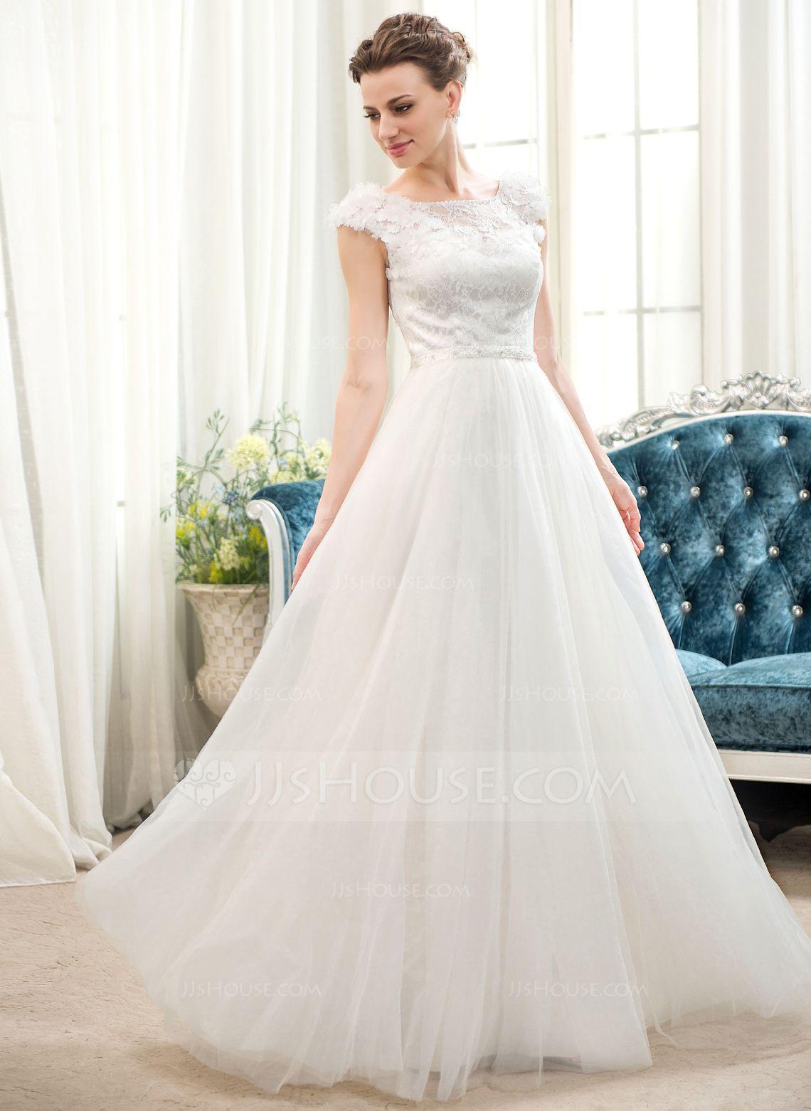 Plus size beach wedding guest dresses  ALinePrincess Scoop Neck FloorLength Tulle Charmeuse Lace Wedding