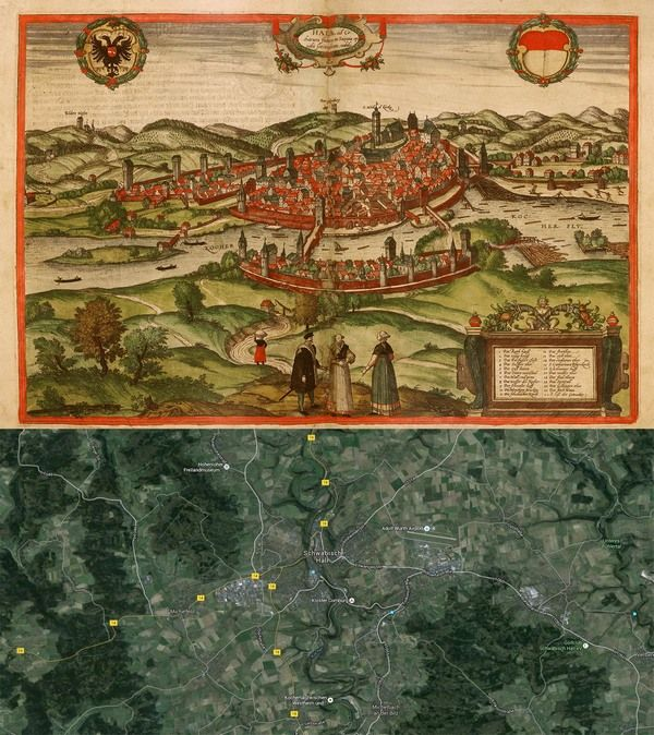 ... #Germany #Map: Then(1575) And Now(2016) #OldCities #OldMaps  Http://old Cities World.blogspot.rs/2016/01/schwabisch Hall Germany Map  Then1575.html