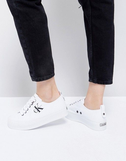 quality design picked up best online Calvin Klein Zolah White Canvas Flatform Sneakers in 2019 ...