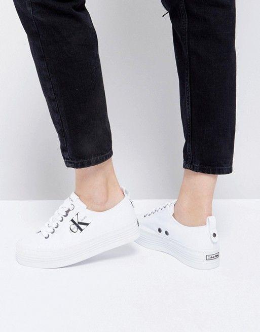 Calvin Klein Zolah White Canvas Flatform Sneakers | Latest