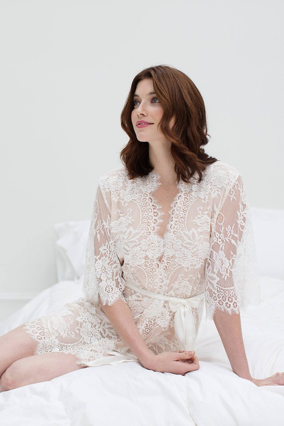 Swan Queen silk and lace robe kimono ivory blush - style 104SH ... 7121f3661