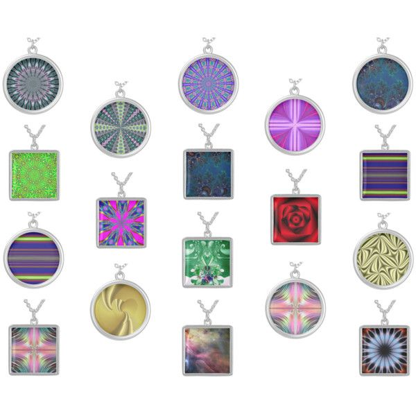 """""""NECKLACES: FRACTALS +These beautiful and unique necklaces combine fractals with a kaleidoscope effect, regular fractals,a NASA picture,fire kaleidoscope and a golden heart!  #fractals #kaleidocopes #necklaces #jewelry #Zazzle #RoseSantuciSofranko #accessories #ladies #mens #womens #customizable #round #square #silver #gold #pinks #blues #yellows #greens #reds #aquas #blacks #mandalas #hearts #NASA #Nebulae #Galaxies #fire #love #stripes"""