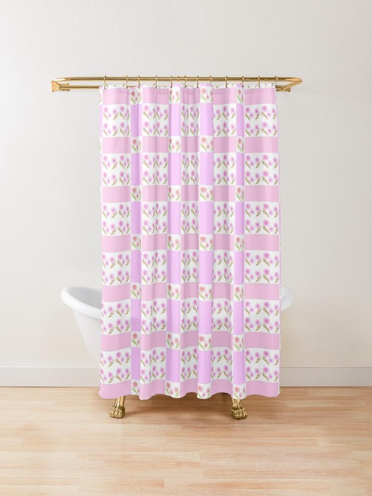 Floral Modern Peach Lilac Quilt Shower Curtain Designer Shower