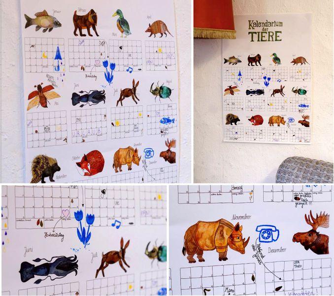 Kalender-Poster *Tiere* von Frau Ottilie Illustrationen auf DaWanda.com