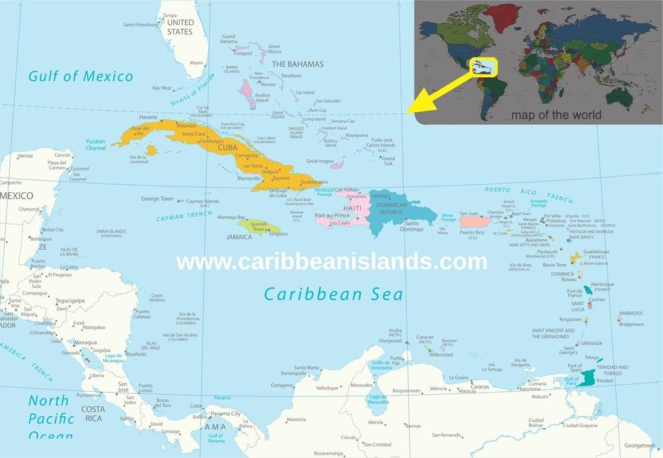 Map Of Caribbean Islands Map Of The Caribbean Region Caribbean - Map of grenada caribbean islands