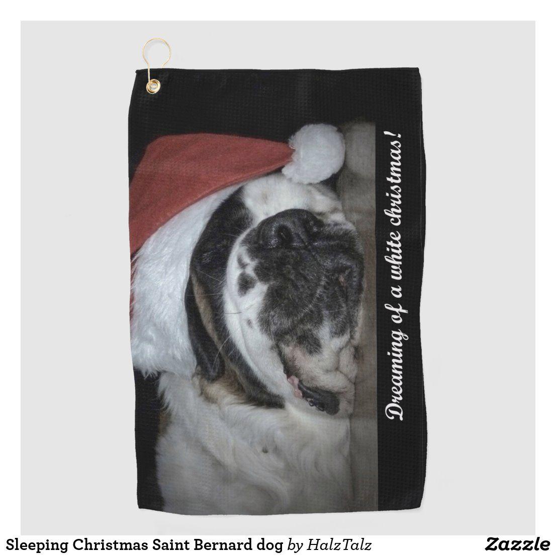 Sleeping Christmas Saint Bernard dog Golf Towel Zazzle