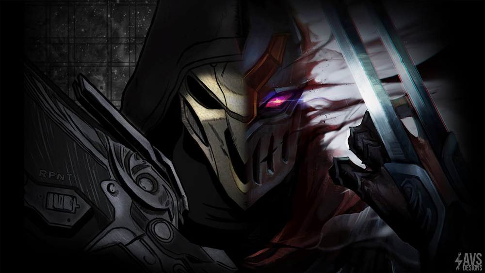 Reaper Zed Video Game Crossover Overwatch League Of Legends Reaper Overwatch Zed League Of League Of Legends Mobile Legend Wallpaper Jinx League Of Legends