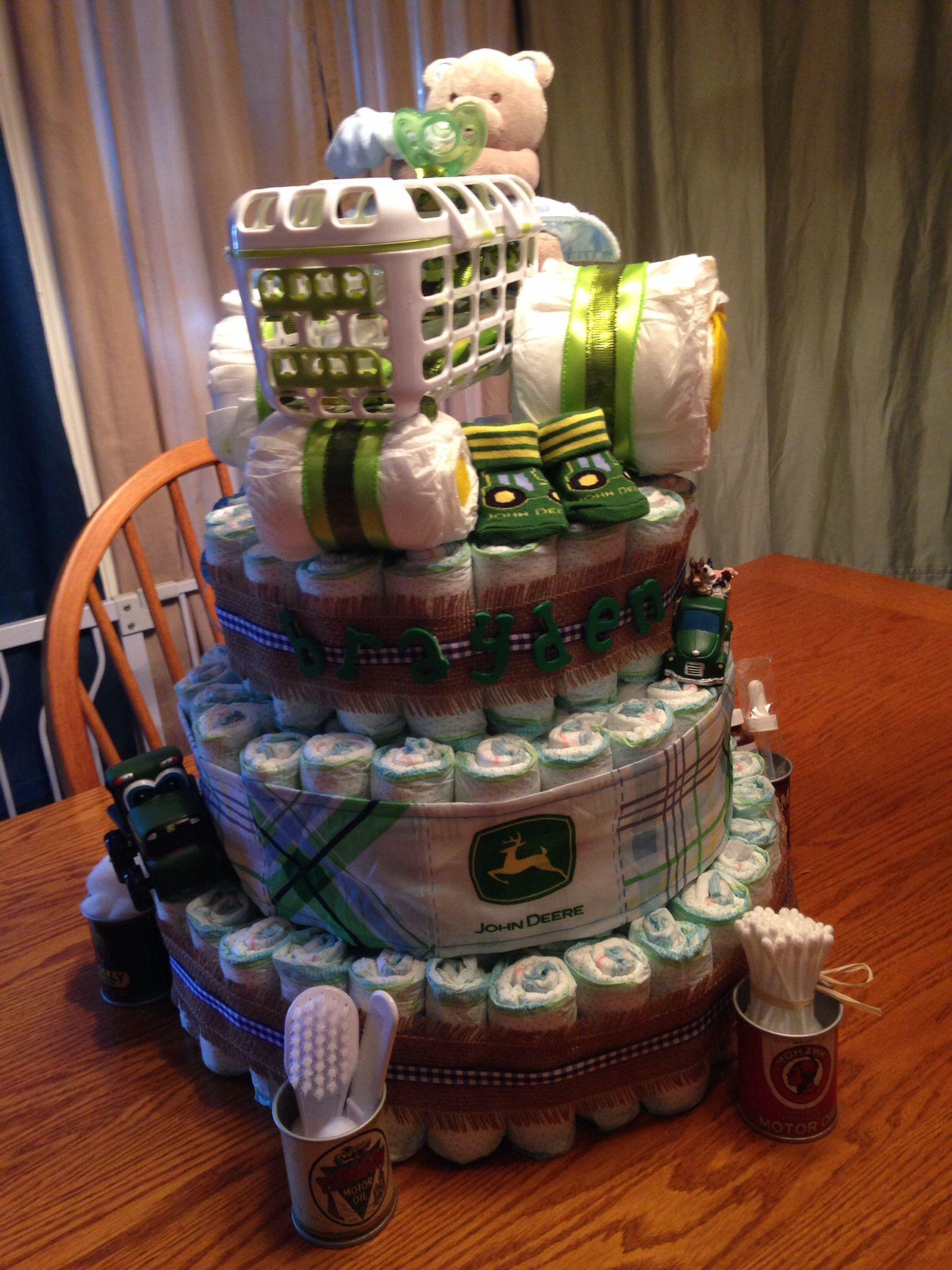 John Deer Tractor Diaper Cake 200 Diapers Baby Diaper Cakes