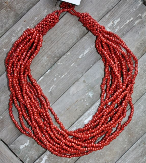 Multiple Strands of Red Brick Beaded Necklace   http://www.giddyupglamouronline.com/catalog.php?item=5638