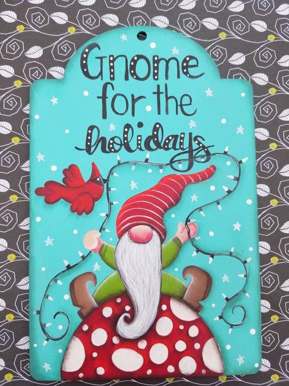 Gnome Gift Tag Painting Pattern Epattern Tole Painting Gnome Art Funky DIY Paint it Yourself Fun Gnome Sweet Gnome Home Holidays Christmas #tolepainting