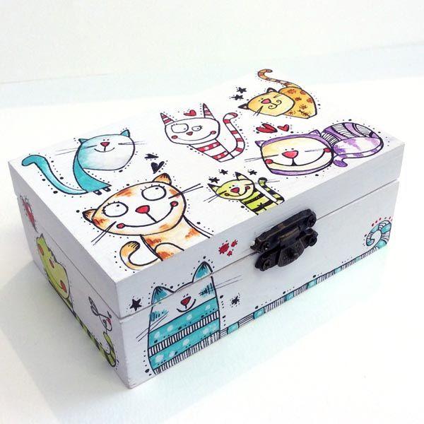 Caja gatitos multicolor madera country cajas de madera - Decorar cajas de madera manualidades ...