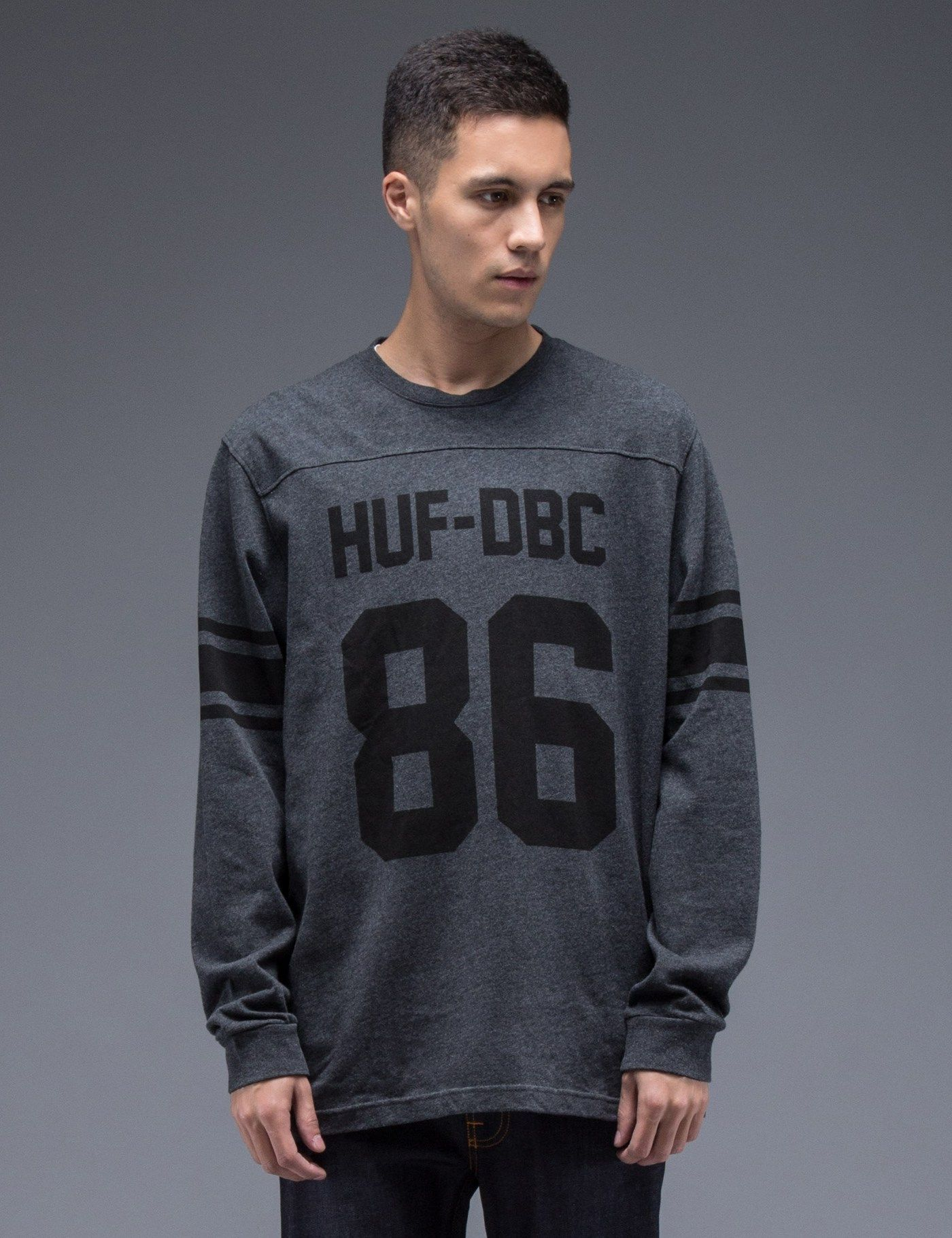 HUF Charcoal Heather HUF Wrecking Crew L S Football Jersey  dd17a285c
