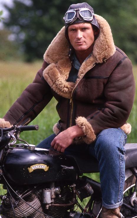 Man In Vintage Style Bomber Jacket On Bike Flying Jacket Bomber Jacket Vintage Sheepskin Jacket