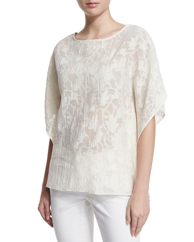 Caftan at Neiman Marcus. Short-Sleeve Shadow Floral Caftan 4b243a334