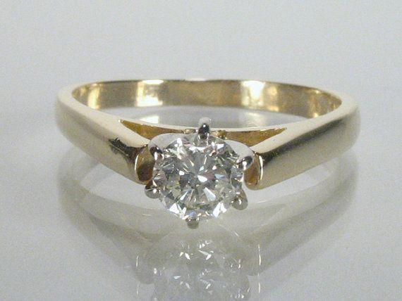 Estate Diamond Solitaire Engagement Ring - 0.37 Carat Diamond