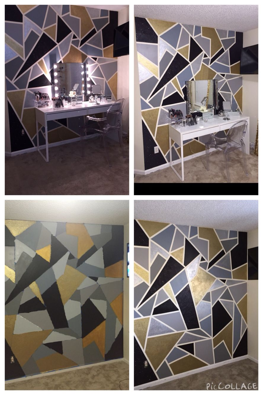 Created by crt diy mosaic glitter wall vanity room ideas
