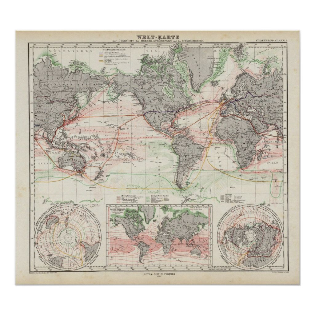 World Map Of Ocean Currents Poster