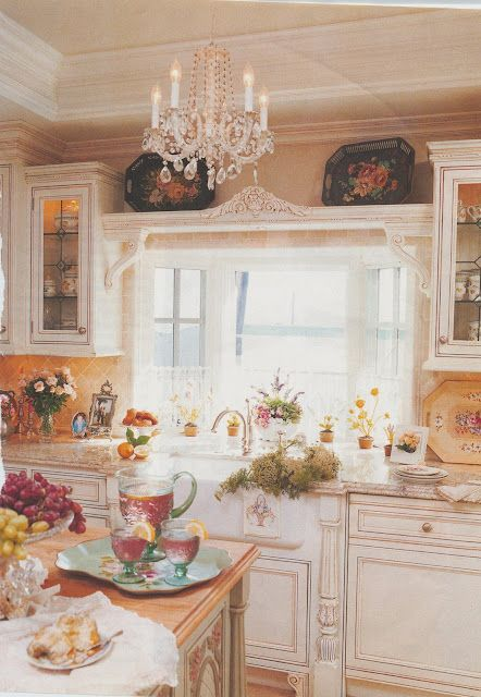 love the shelf over the sink!...Romantic Homes