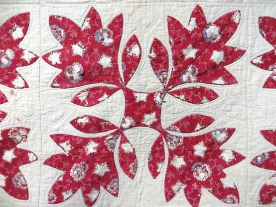 Appliqué quilt with colorful oak leafs and floral