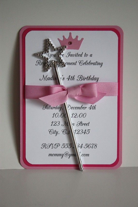 Cute idea to add wand with invitation for princess party for Birthday wand
