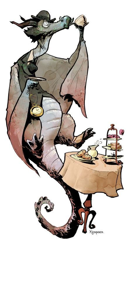 By Brian Kesinger Who also has art you can get via The World Of Steam Kickstarter right here Brian Kesinger's Tea Girls: Lord Earl the Grey Dragon is less concerned about laying siege to small villages or the capturing of maidens like his less civilized red and green dragon cousins. Instead he finds happiness in a nice cup of tea and the hoarding of blueberry scones rather than gold.