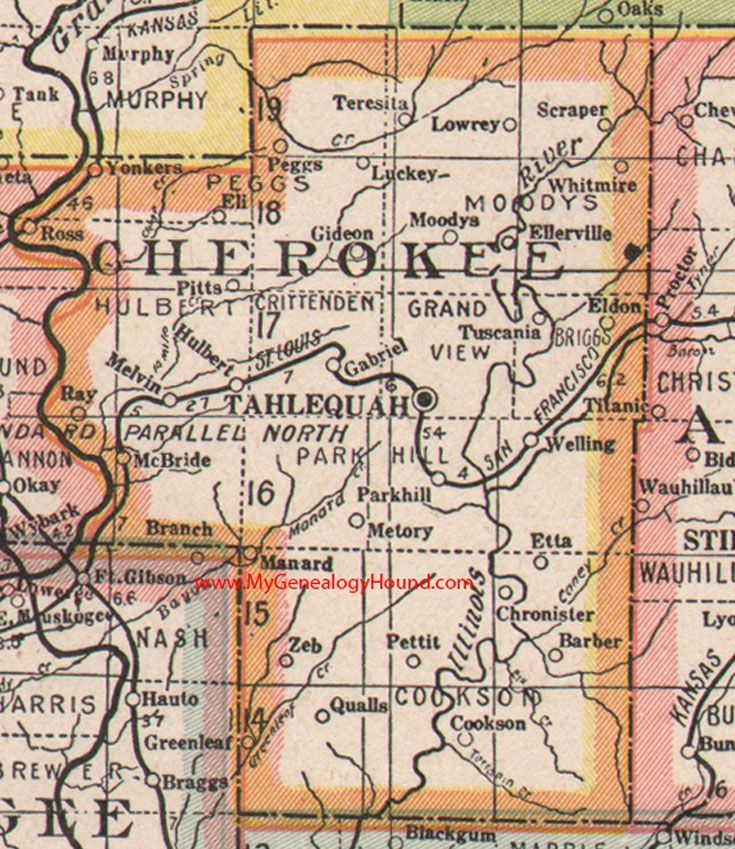 A Vintage Map Of The Cherokee Nation Indian Territory Now - Counties of oklahoma map