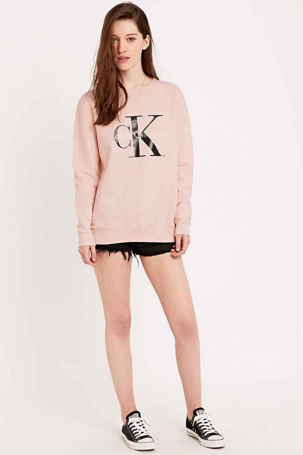 d7cf59b38f31 calvin klein women pink | Calvin klein jeans Sweatshirt In Pink in Pink |  Lyst