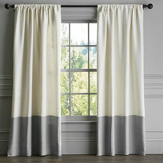 Set Of 2 Designer Two Tone Linen Curtains Each Panel 50 Inches