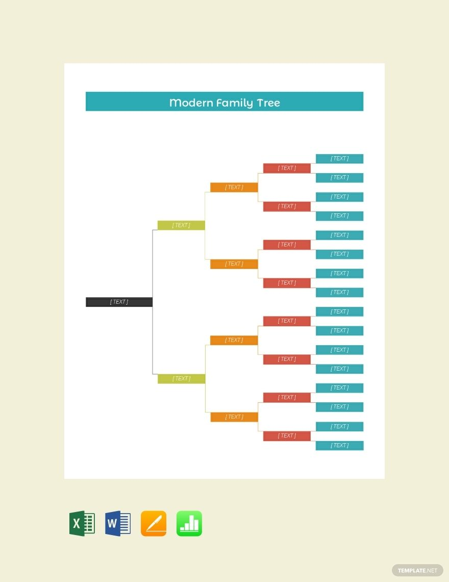 Free Modern Family Tree Template Word Doc Excel Apple Mac Pages Apple Mac Numbers Family Tree Template Excel Family Tree Chart Family Tree Printable