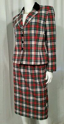 Womens Pendleton Virgin Wool Blazer and Skirt Suite Size 8 Petite