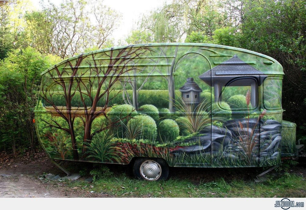 Nature+Painted+Caravan - So your neighbors don't complain that your camper is an eyesore