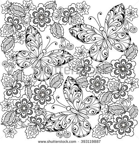 Hand drawn flowers and butterflies for the anti stress coloring pag ...