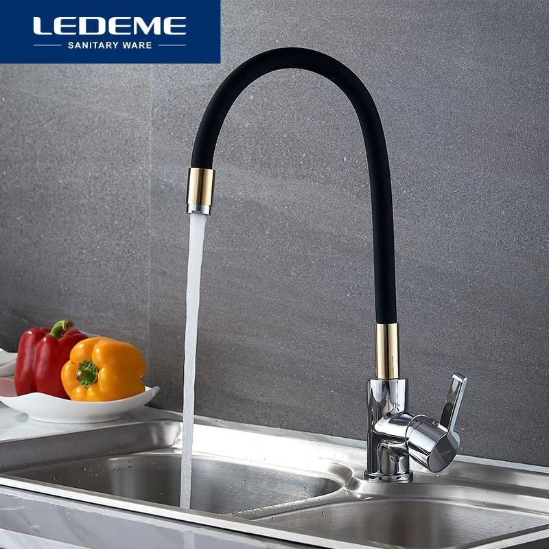 Ledeme Single Handle Kitchen Faucet Mixer Pull Out Kitchen Tap