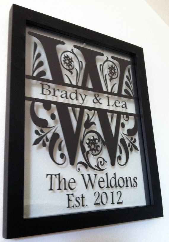 personalized family name floating glass 8x10 frame black