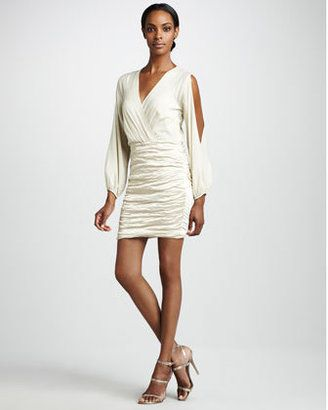 Nicole miller ruched skirt cocktail dress